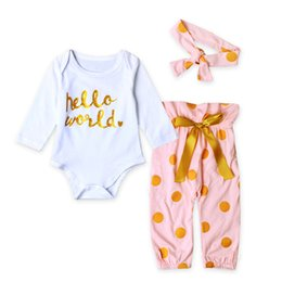 Wholesale Cute Casual Outfits For Girls - Newborns Girl Clothing Fashion Boutique Gold Letter White Romper Polka Dot Pants Clothes For Girls Kids Long Sleeve Casual Outfits 2017