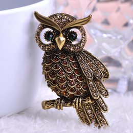 Wholesale Big Owl Scarf - Wholesale- Korea New Arrival Big Owl Brooches For Wedding Bouquet Vintage Wedding Hijab Scarf Pin Up Buckle femininos Broches Game Bijoux