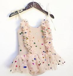 Wholesale Girl Bubble Cute - 2017 Summer New Children Girls Dress Soft Gauze Dot Sequined Cute Suspender Vest Dress Bubble Skirt B4706