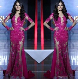 Wholesale Mermaids World - 2017 New Miss World Prom Dresses Long Sleeves Lace Appliques Mermaid Fuchsia Custom See Through Sweep Train Formal Evening Dress Party Gowns