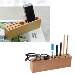 Wholesale Wood Desk Organizers - Multi-Function Pencil Smartphone Holder Stand, Wooden Desk Organizer, Office Storage Container for Pens, Markers, Business Cards