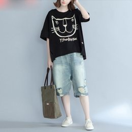 649e59254 Plus Size Women T-Shirt Summer Kawaii Cotton Cat Pattern Print Tops&Tees  Female Casual Fashion Style Yellow New T-Shirt discount cat tee shirts plus  size