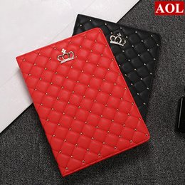 Wholesale Ipad Protective Cover For Screen - Tablet Case for 2017 New iPad air 2 3 4 mini Luxury Rhinestone Crown Leather Protective Cover With Sleep & Wake-up function free gifts