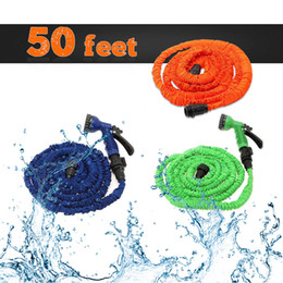 Wholesale Hose Free Shipping - US Stock! 50 Feet Latex Expanding Flexible Garden Water Hose with Spray Nozzle 3 Colors Free Shipping