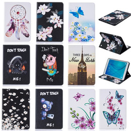Wholesale Tower Case Stand - Tablet case For Samsung galaxy Tab A 9.7 inch T550 T555 Cover Wallet Stand Leather Case With Card Slots Painting Butterfly tower