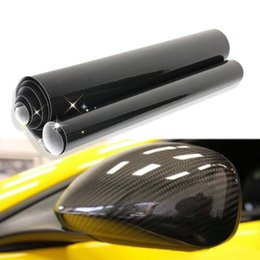 Wholesale High Gloss Vinyl - Wholesale- New 5D Black Premium High Gloss Carbon Fiber Vinyl Wrap152cm*152cm 5 size Waterproof DIY Sticker Wrapping Motorcycle Car-Styling