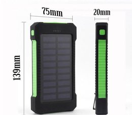 Wholesale Wholesale Portable Solar Panels - 20000 mah Solar Charger and Battery 30000mAh Solar Panel Dual Charging Ports portable power bank for All Cell Phone table PC MP3 10pcs