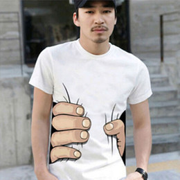 Wholesale Men White Tshirts - Fashion Men's Clothing O-neck Short Sleeve Men Shirts 3D Big Hand T Shirt men Tshirts Tops Tees For Man free shipping