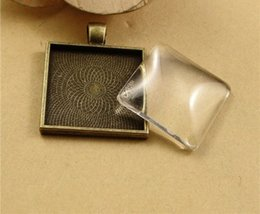 Wholesale Square Cabochon Settings - 10pcs lot Multi Colors 25mm Necklace Pendant Setting Cabochon Cameo Base Tray Bezel Blank Fit 25mm Cabochons Jewelry Making Findings Square