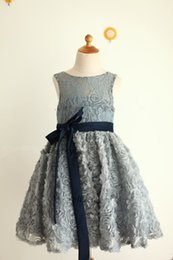 Wholesale Rosette Bow Flower Dress - silver lace flowergirl dresses for kids heart cut navy blue sash girls graduation party dress 3D rosette dress for girls 10 12