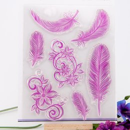Wholesale Lace Rubber Stamp - Wholesale- Feather lace design Scrapbook DIY photo Album paper cards rubber stamp clear stamp transparent stamp for christmas gift YZ-006