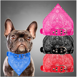 Wholesale Wholesale Personalized Towel - 2 in 1 pet dog collars with saliva towels adjustable neckerchief triangle scarf towel 4 colors in stock DHL free