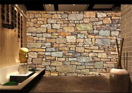 Wholesale Kids Brick Wallpaper - murales de pared 3d naturaleza wallpaper brick wall for Living Room Resturant Room Office Backside Wall Decor Stone Wall paper