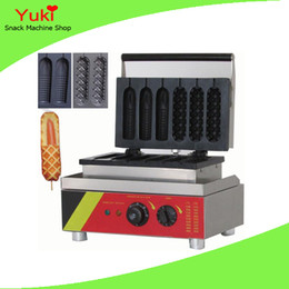 Wholesale Corn Dogs Machine - 110 220V Commercial Hot Dog Muffin Machine Corn Shaped Waffle Lolly Maker Waffle Machines Snack Vending Machine Waffle Maker
