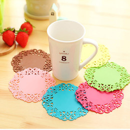 Wholesale Modern Mugs - The New Selling 10PCS Round Hollow Pattern Silica gel Non-slip mat Coffee cups Coaster Anti-hot Insulation variety of styles Coffee Mug Pad