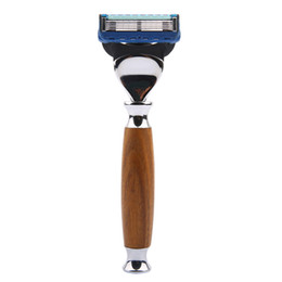 Wholesale Shaving Cartridges - 1 Razor 1 Blade Green Ebony Wood Holder Replacement Blade Turbo Safety Razor Cartridge Shaver For Men Shaving Razor