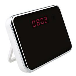 Wholesale Hd Digital Mirror Clock - 1280*720P HD Mini Clock Camera Mirror Hidden Digital Motion Detector DVR Video Camcorders Camera DV For Home Security