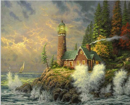 Pittura ad olio sul mare online-Seaside Dream - 40 * 50 cm Frameless foto dipinte a mano Pittura a olio digitale su tela cuadros decoracion Pittura By Numbers