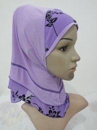 Wholesale Combined Cotton - Wholesale- H1021 new style two color combined small girl hijab,mixed colors,fast delivery