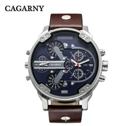 Wholesale Men Leather Watch Dual - Luxury Men's Watches Quartz Watch Men Fashion Wristwatches Leather Watchband Date Dual Time Display Military Watches Men Cagarny