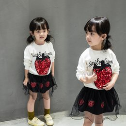 Wholesale Outfits Long Skirts - Baby girls clothes suits 2017 autumn sequin T-shirt+skirt 2pcs sets korean style kid clothing outfit for 1~7Y
