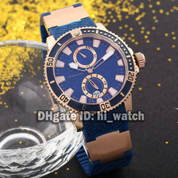 Wholesale Marines Sports - Brand New Luxury Ulysse New Maxi Marine 1846 Diver Watch 263-33-3 82 Blue Dial Mens Watch Automatic Rubber Strap Rose Gold Sports Watches