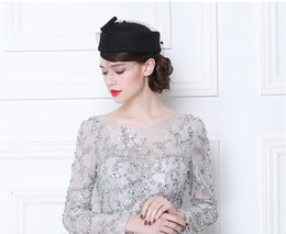 Wholesale Wool Head Flower - British style 100% wool felt hat Ms. head flower bride headdress women party formal hats with bow fascinator hats black red gray