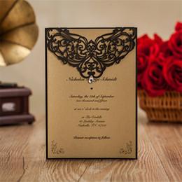 2019 convites casamento Al por mayor-12pcs / lot Diamantes de imitación de lujo Diamante Floral Invitaciones de boda Negro Laser Cut Party decoraciones convites de casamento JJ652 convites casamento baratos