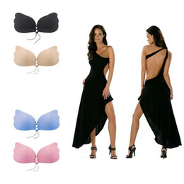 Wholesale Invisible Bra Pcs - Butterfly Wing Invisible Bra Self Adhesive Silicone Invisible Push-up Bras Self-Adhesive Gel Magic Stick for Women A B C D YYA492 50 PCS