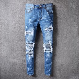 Wholesale Q Pants - 2017 New HI-Q Famous Brand AMIRI Jeans Men Frayed Whisker Jeans Cowboy Vogue Leisure Denim Pants Pleated Stitching Casual Travel Trousers
