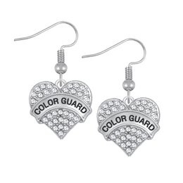 Wholesale Gray Crystal Silver Earrings - COLOR GUARD Fashion Design Crystals Embedded CHIHUAHUAMOM Engraved Charm Earrings Heart Letter Best Friend Drop Earring Women Jewelry Gift