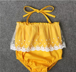 Wholesale Cute Baby Girl Yellow Outfits - Baby Girls Lace Up Yellow Romper Lace trimmings Romper crotch snapper open Infants cute summer outfits 4sizes for 1-2T A080
