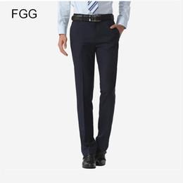 Wholesale Bestman Suits - Wholesale- Size 40 Easy Care Casual Business Trousers Formal Office Navy Blue Bestman Wedding Pants For Men Suit Pants Pantalones Hombre