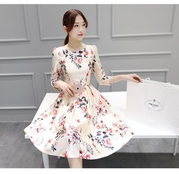 Wholesale Dresses Shift Cotton - New Arrival Multicolor Sleeveless Flower Print Boho Dresses Womens Summer Round Neck Cut Out Cute Shift Dress