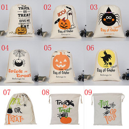 Wholesale Discount Candy Wholesalers - Latest Halloween Bag Candy Gift Bag 36X44CM Discount Belt Cotton Canvas Child Pumpkin Spider Christmas Handbag