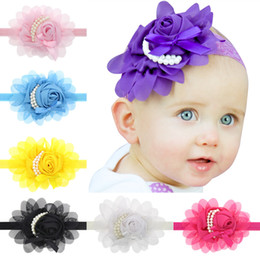 Wholesale Vintage Pearl Hair Barrettes - Hot ! Baby Girls Kids Band Lovely Roses Pearls Hair Bands Vintage Flowers Hair Accessories Pretty Chiffon Infant Headbands 13 Color A6269