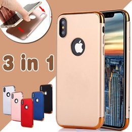 Wholesale Chrome Hard Cover - 3 in 1 Combo Matte Frosted Chrome Hybrid Slim Shockproof Hard PC Cover Armor Case For iPhone X 8 7 Plus 6 6S Samsung S8 S7 edge Note 8