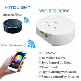 Wholesale Rgb Strip Light Wifi - DC12-24V Wifi RGBW RGB LED Controller for RGBW LED Strip Light IOS Android Smartphone Remote Control Music Mode Alexa Google Home Voice