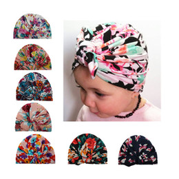 Wholesale knot head wrap - Baby Hats Floral Print Bunny Ear Caps Ears Cover Hat Europe Style Turban Knot Head Wraps Infant Kids India Hats Beanie