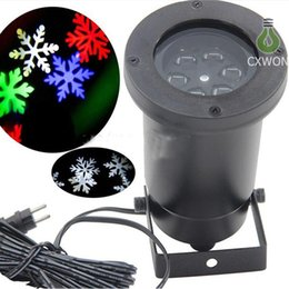 Wholesale Lighted Christmas Snowflakes - Waterproof Snowflake laser light led projector R G B W snowflake Landscape lamp for wall Christmas Holloween decoration romatic atmosphere
