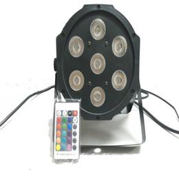Wholesale Dmx Led Par Wireless - Free&Fast shipping hot new Wireless remote control flat led par 7x12w rgbw quad stage wash light