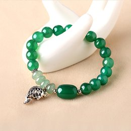 Wholesale Gate Bracelets - New 925 sliver fish pendant greena gate beaded vintage bracelet Hot sale