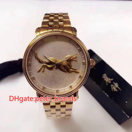 Wholesale Dog Round Watch - 12 zodiac animals with Chinese characteristics Dog face full rose gold case automatic men watch 41mm glass back cover fashion style watch