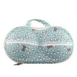 Wholesale Bras Bag Organizer - Wholesale- Blue and white bowknot Portable Travel Bra Underwear Lingerie Organizer Bag