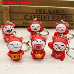 Wholesale Lucky Cat Car - Lovely Cartoon Maneki Neko Lucky Cat mini plastic Toy Keychain For Children's Gift Purse Charms Pendant