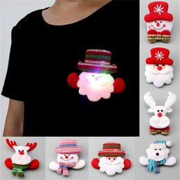 Wholesale Snow Brooch - High Quality LED Christmas Brooches Snow man Santa Claus Elk Bear Pins Badge Light Up Brooch Christmas Gift Party decoration Kids Toy