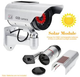 Wholesale Dummy Solar Powered Cctv Cameras - Simulation Fake Camera Solar Power Dummy Camera Waterproof Outdoor Security CCTV Surveillance Dummy Camera Bullet With LED Light