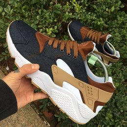Wholesale Drop Shipping Fishing - 2017 New arrival Drop Shipping Wholesale Famous Huarache iD Denim Brown Mens Womens Athletic Sneakers Sports Running Shoes Size 5.5-11