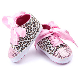 Wholesale Wholesale Sequin Shoes - Toddler Baby Girls Shoes Floral Lace Up Leopard Sequins Infant Soft Sole First Walker Cotton Shoes