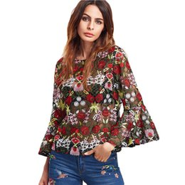 Wholesale Flower Blouse Puff Sleeves - Fashion Blouse Womens Tops and Blouses Multicolor Three Quarter Length Flare Sleeve Flower Embroidered Mesh Top